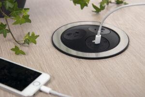 PANDORA OE Electrics sort og rustfrit stål oplader telefon